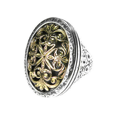 Gerochristo 2081N ~ Solid Gold & Sterling Silver Medieval Byzantine Large Ring