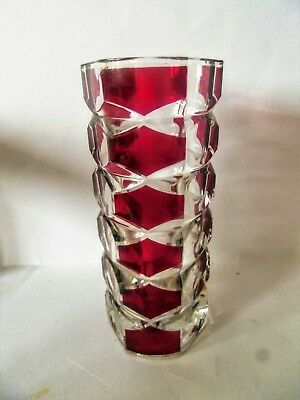 Vintage Retro 70s French JG Durand Cranberry Red Clear Facetted Vase - VGC