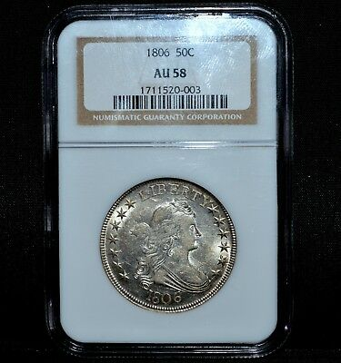 1806 Draped Bust Half Dollar ✪ Ngc Au-58 ✪ 50C Pointed 6 Stem Silver ◢Trusted◣