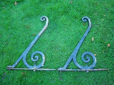 Vintage Wrought Iron Porch Brackets - Very Old - Very Heavy - Pair -