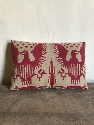 Large Handmade Early Pillow Antique Red Double Eagle Coverlet Textile AAFA