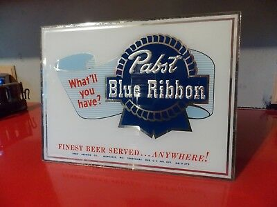 Pabst Blue Ribbon Brewery Beer Reverse Glass Advertising Sign