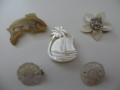 Lot 5 vintage MOP Mother of Pearl Carved Brooches 1 Bethlehem 1 April Sweet Pea