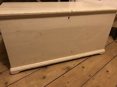 Lovely Old Painted Pine Linen Box Storage Chest