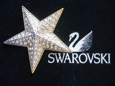 Swarovski Swan Signed Christmas Star Brooch Pin Retired