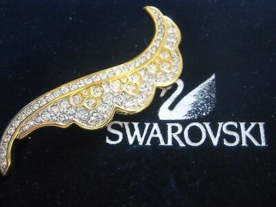 Swarovski Swan Signed Feather Brooch Pin Retired