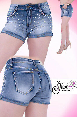 Womens Girl Shorts Hot pants Ladies Vintage Mid Waist Stretch Pearl Denim Jeans