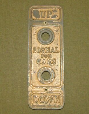 Antique Cast Bronze Early 20th C Lobby Elevator Car Call Button Plate Backplate