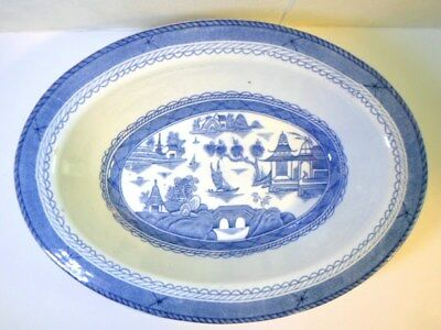 WOODS WARE CANTON BLUE & WHITE OVAL VEGETABLE BOWL Wood & Sons English China