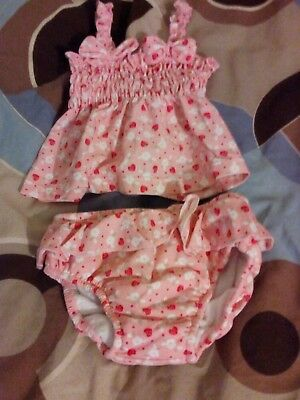 Mothercare 0-6 months 2 piece pink swim suit