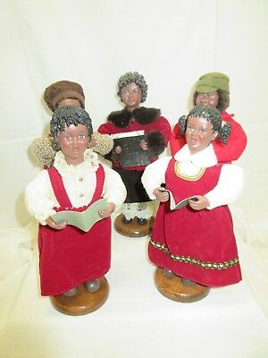 "5 African American Christmas Carolers  8"" Figures Dolls"