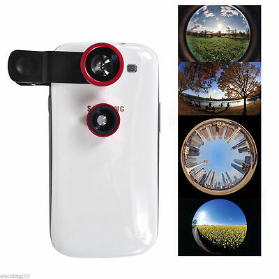 3 in 1 Fisheye Wide Angle Macro Lens Camera Kit for Samsung iPhone 6plus/6/5S/5C