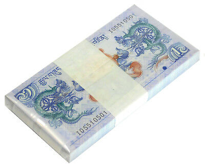 BHUTAN 1 NGULTRUM 2006 P 27 UNC DRAGON (Bank bundle 100 Notes)