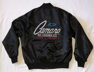 """Vintage Chevrolet Camaro """"Listen To The Beat"""" Embroidered Black Jacket Size L"""