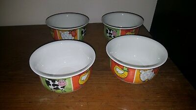 DUNOON FUNKY FARM MEDIUM CEREAL SOUP BOWLS X 4 by Jane Brookshaw