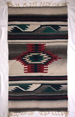 """Beautiful Vintage Design Zapotec Authentic Hand-Woven Wool Rug 22x44"""""""
