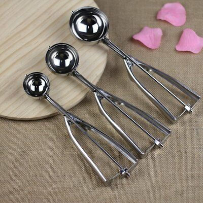 3PCS/Set Ice Cream Spoon Stainless Steel Spring Handle Masher Cookie Scoop US