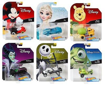 2018 Hot Wheels Set of 6 Disney 1/64 Character Cars Collectible Die Cast Cars