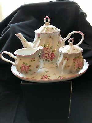 White Porcelain, Pink Rose Pattern, Full Size Tea Set With Tray By Delton