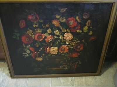 Large Antique Victorian Still Life Oil Painting Flowers Floral