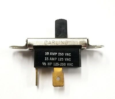 Vintage Carling SPST ON-OFF Slide Switch  15A @ 125V AC & 10A @ 250V AC ~ 1/2HP