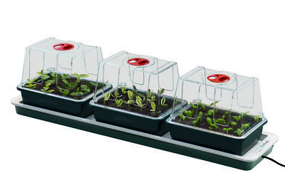 3 Three Top Windowsill Heated Electric Propagator Plant Seed Tray Trays Heating
