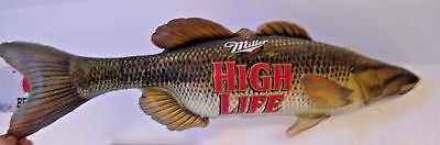"Miller High Life Inflatable Muskie Walleye Bass Fish 35"" Long - Very Good Cond"