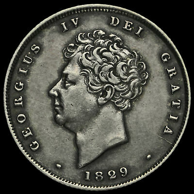 1829 George IV Milled Silver Shilling, Scarce, A/EF