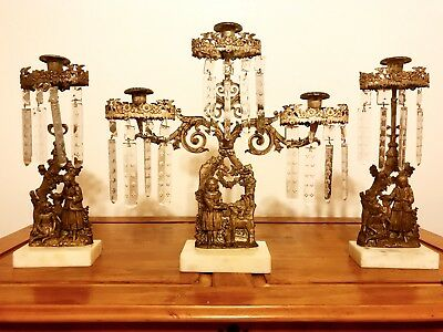 ⭐️1850's Large Bronze 3 Piece Set Girandole Lady Lamb Pup Girl Crystal Prisms ⭐️
