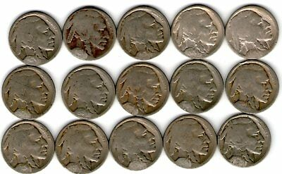 15 Different Buffaloes - 1914-29 All D Or S - Restored Date - Nice Starter Set