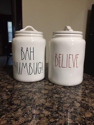Rae Dunn Christmas Canister BAH HUMBUG BELIEVE MERRY CHRISTMAS RED