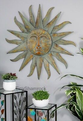 Large Wall Art Sun Face Metal Starburst Garden Art Iron Celestial Sunface 35""