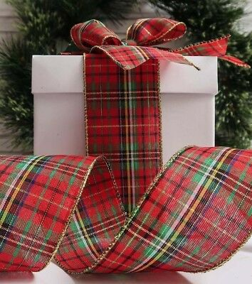 63MM Red Green & Gold Edged Tartan Ribbon Christmas Wreaths Make Bows Party Deco
