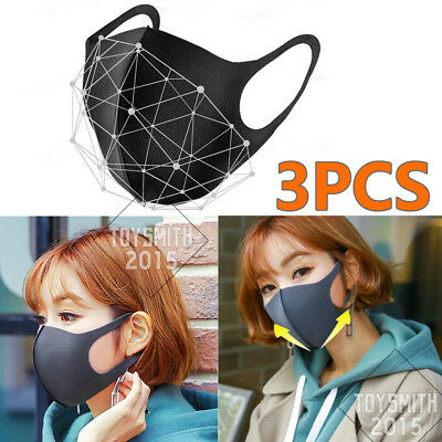 3PCS Earloop Masks Anti Dust Pollution Cycling Mouth Mask Face Mask Regular Size