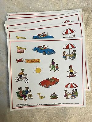 SET OF 3 IN-N-OUT BURGER PUZZLE STICKER SHEETS three animal style double spread