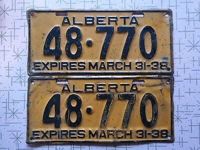 Alberta License Plate 1938 vintage pre war Canadian Canada pair rare early