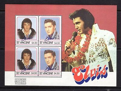 1985 ***MUH*** St. VINCENT - ELVIS PRESLEY - MINI SHEET of 4 SE-TENANT $4.50