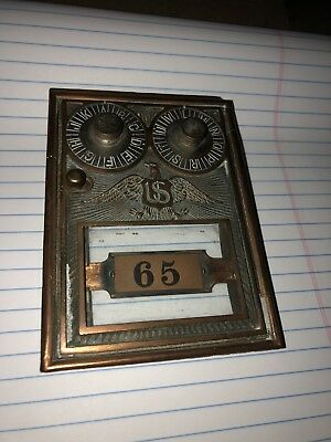 Vintage  Brass Post Office Mail Box Door Double Dial Eagle - Great Look
