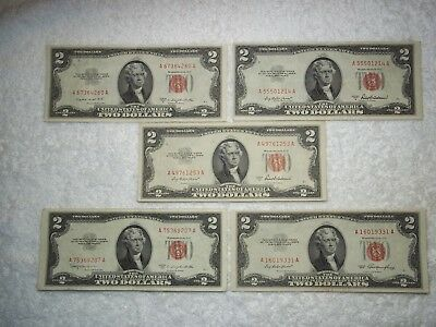 1953 $2 United States Note Red Seal (lot of 5) NICE circulated notes-shown
