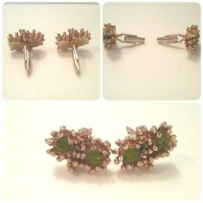 Last Chance! Gorgeous Vintage Old Pair Of Cufflinks Gold Tone With Rhinestones