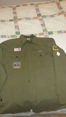Vintage BSA Scout Master Shirt Large w/Patches