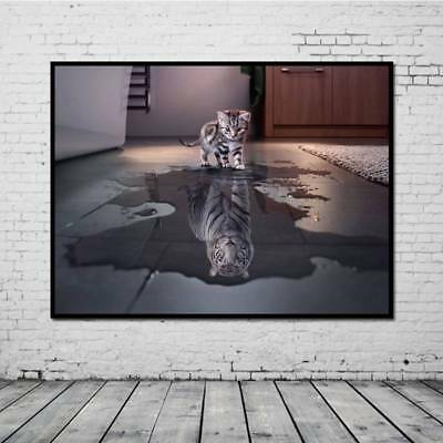 Cat Huge Wall Art on Canvas Unframed Modern Abstract Decor Oil Painting New