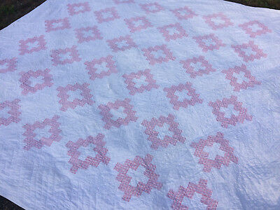 Antique QUILT Pink & White 1920s Chimney Sweep 82X82~Beautiful~