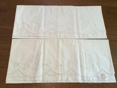 VTG COTTON STAMPED Embroidery Cutwork Floral 1930 Pillow Case Tubing Pair  USA