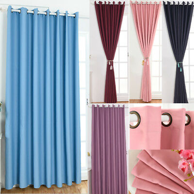 Solid Color Curtains Blackout Window Drape Door Balcony Blinds with Eyelets