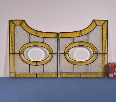*Pair of Antique French Stained Glass Panels with Leaded Glass