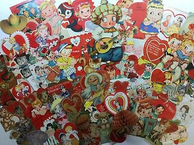 Large Lot of 50 Vintage Victorian Die Cut Mechanical Valentine Greeting Cards