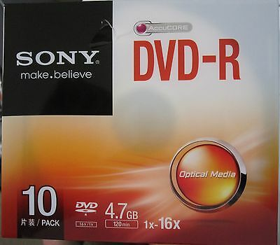 10 pack  Sony 16X DVD-R 4.7 GB 120MIN DISC slim line case FREE DEL.