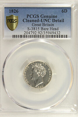 GREAT BRITAIN 1826 SIXPENCE GEORGE IV PCGS UNC. DETAILS Pretty Coin