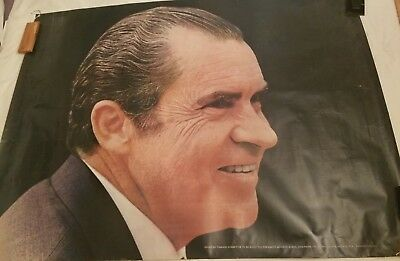 GIANT Richard Nixon 1972 Original Campaign Poster COMMITTEE TO ELECT PRESIDENT